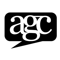 Academic Grievance Centre logo, speech bubble that reads agc