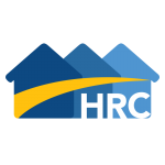 Housing Resource Centre logo, 3 blue houses with yellow stripe