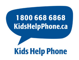 Kids Help Phone Logo. Text Bubble reading telephone number 1-800-668-6868, Kids Help Phone dot ca