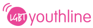 LGBT youthline logo, pink circle and text